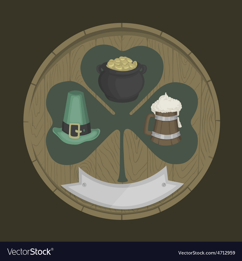 Round wooden shield with shamrock vector | Price: 3 Credit (USD $3)