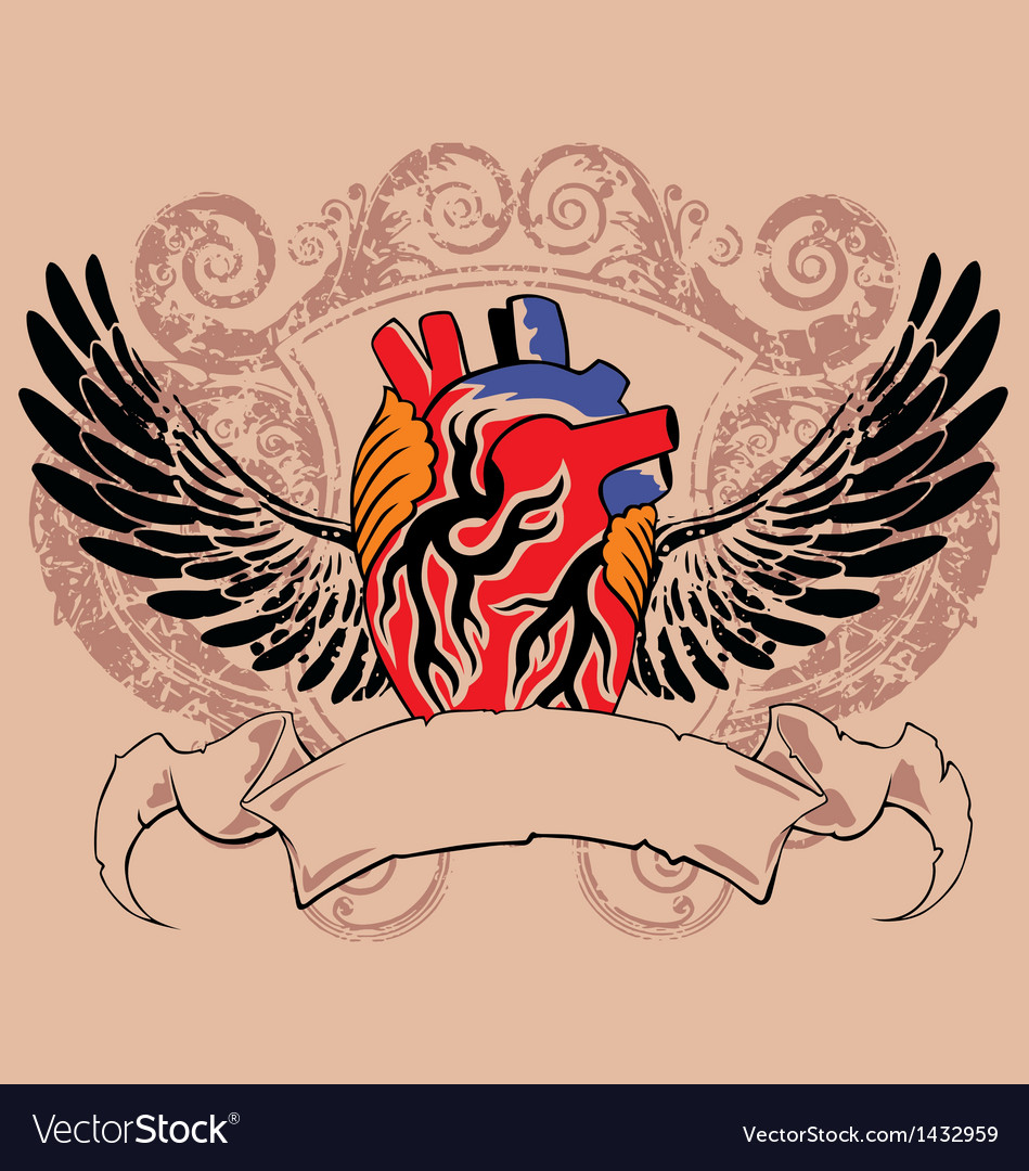 Vintage flying human heart vector | Price: 1 Credit (USD $1)