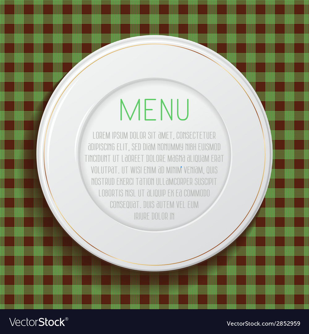 White classic plate on blue checkered tablecloth vector | Price: 1 Credit (USD $1)