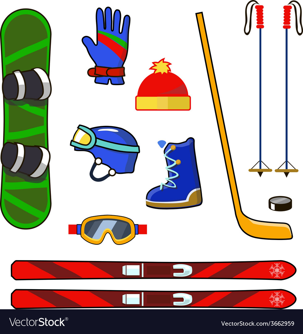 Winter sports equipment icons set vector   Price: 1 Credit (USD $1)