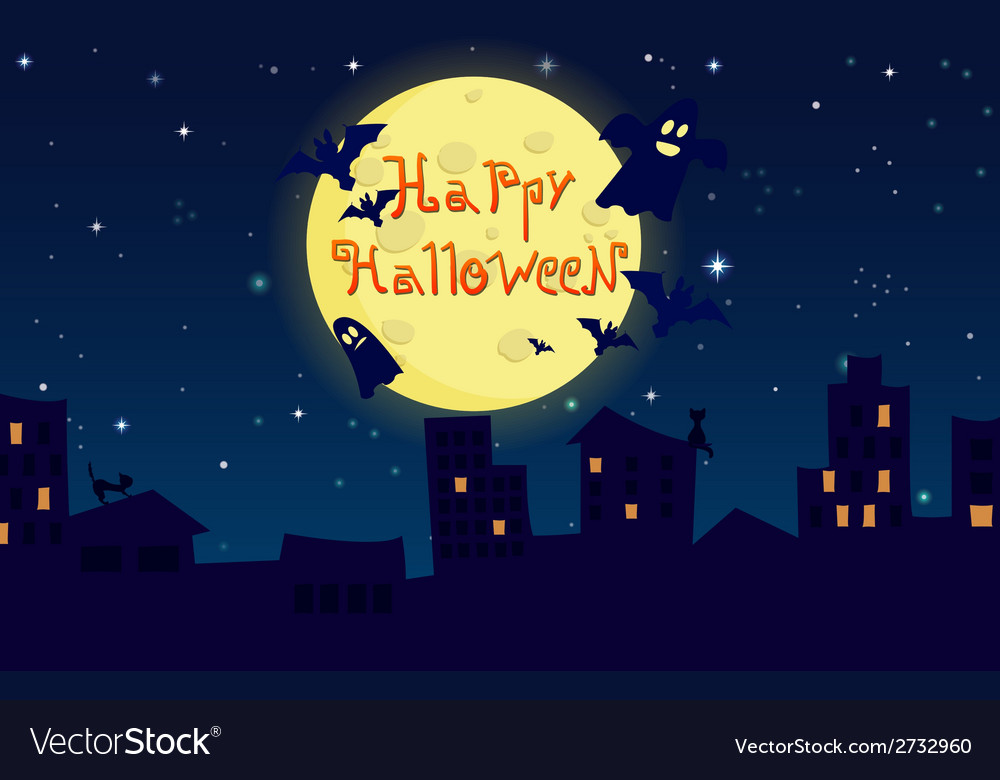 Cartoon happy halloween city on background of the vector | Price: 1 Credit (USD $1)