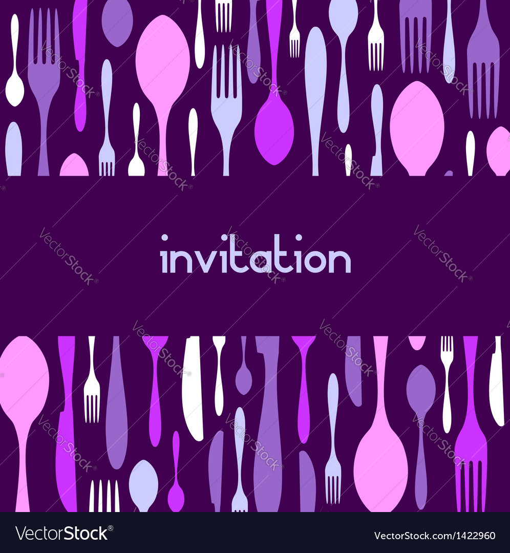 Cutlery pattern invitation violet background vector | Price: 1 Credit (USD $1)