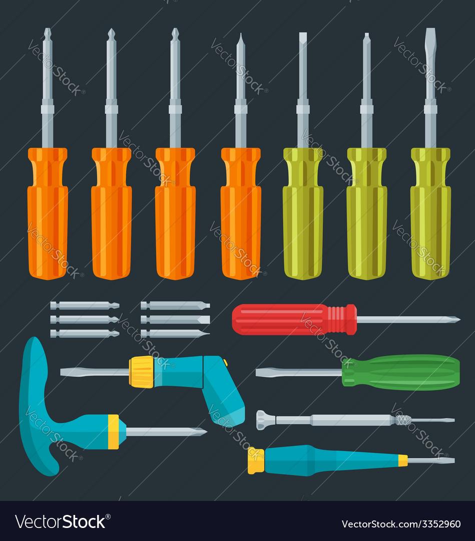 Flat various screwdrivers set vector | Price: 1 Credit (USD $1)
