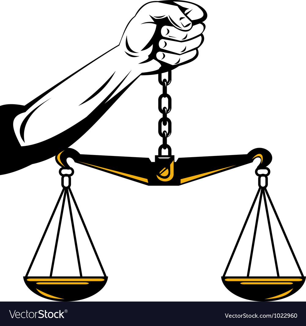 Hand holding scales of justice vector   Price: 1 Credit (USD $1)