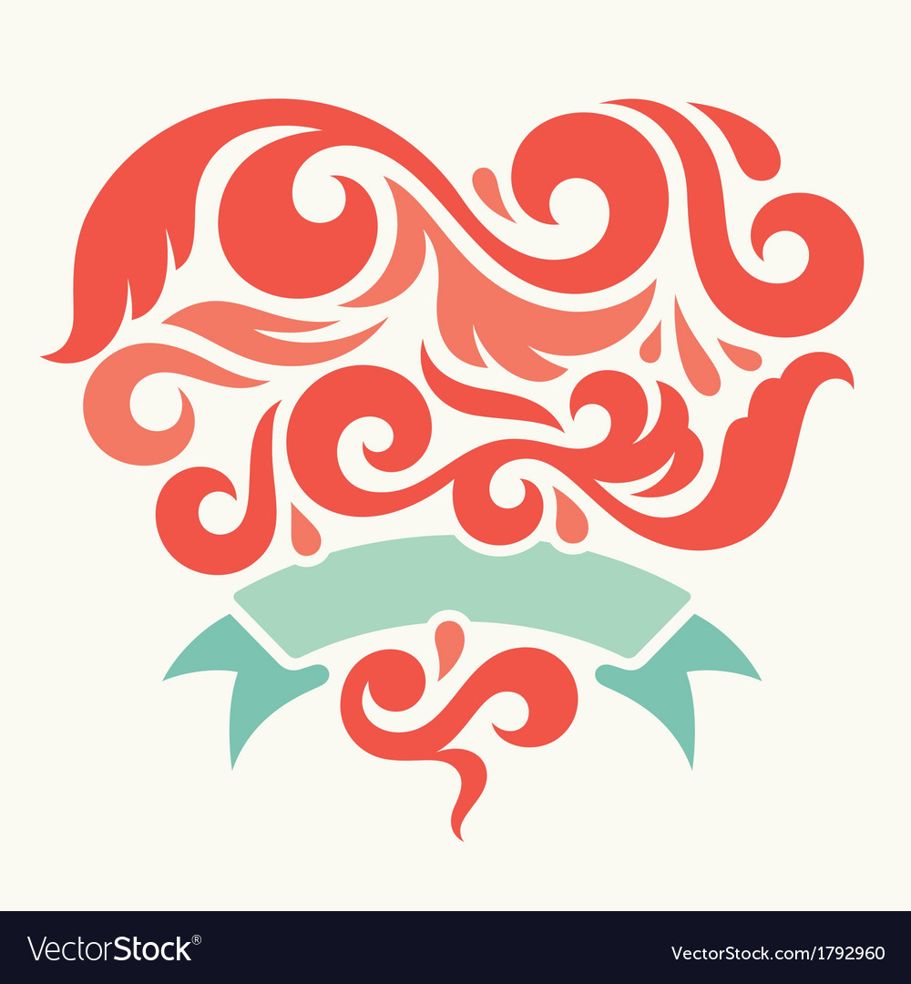 Heart with ribbon vector | Price: 1 Credit (USD $1)