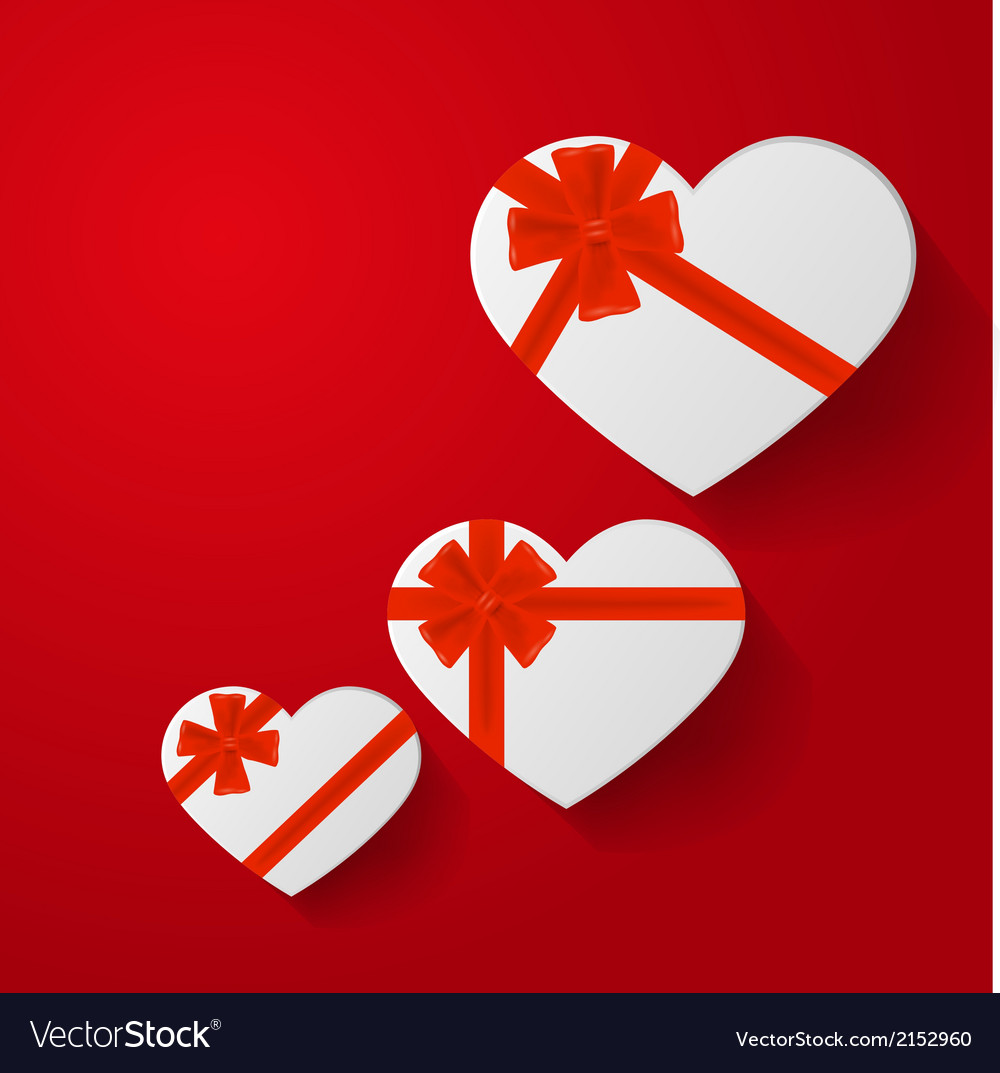 Heart-shaped gifts with red bow on red background vector | Price: 1 Credit (USD $1)