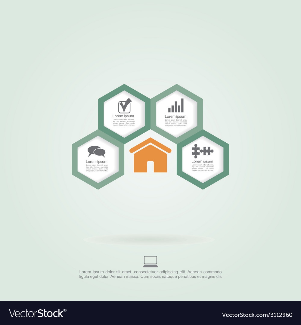 Infographic honeycomb elements with icons vector | Price: 1 Credit (USD $1)