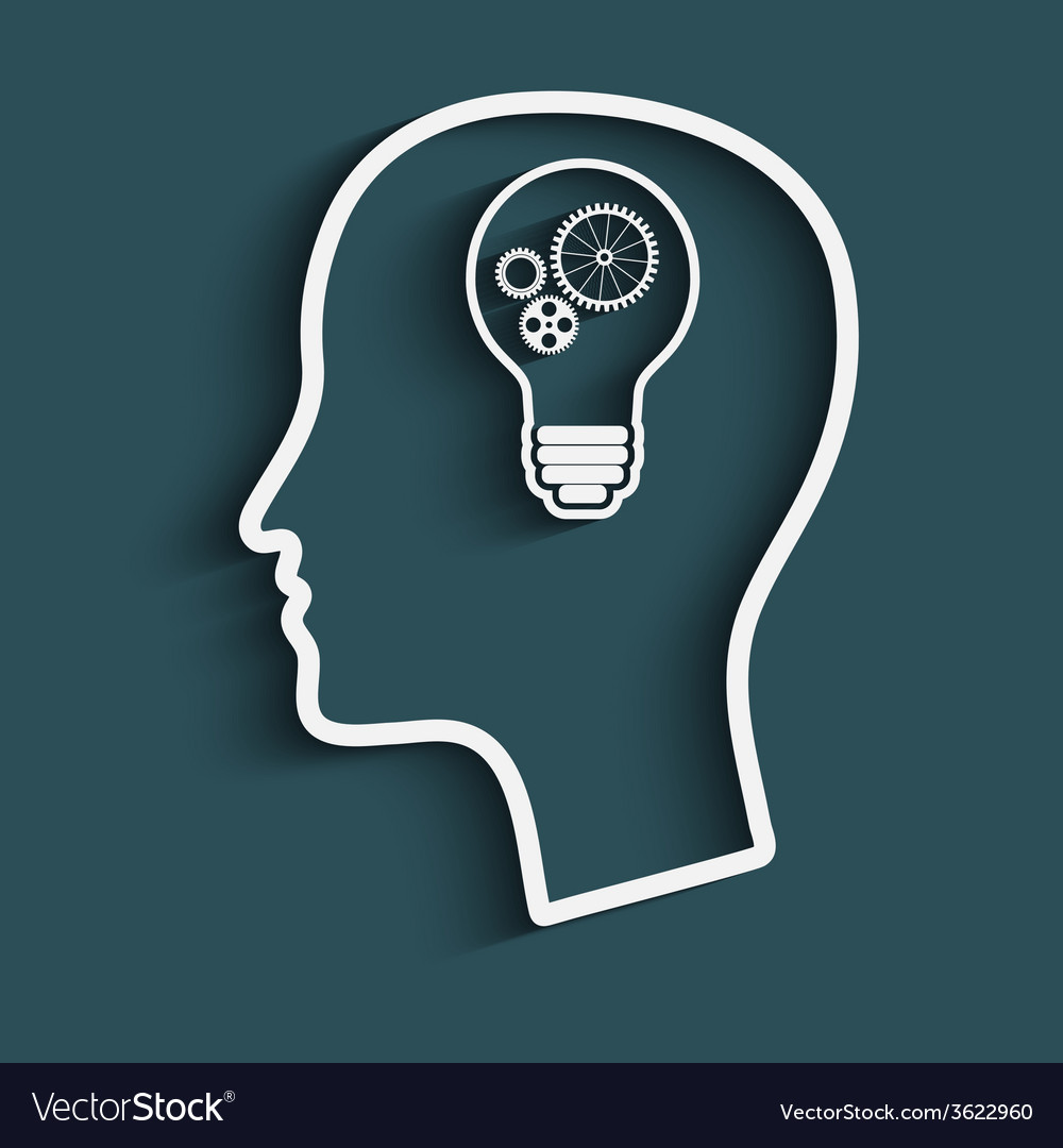 Mans head with a light bulb vector | Price: 1 Credit (USD $1)