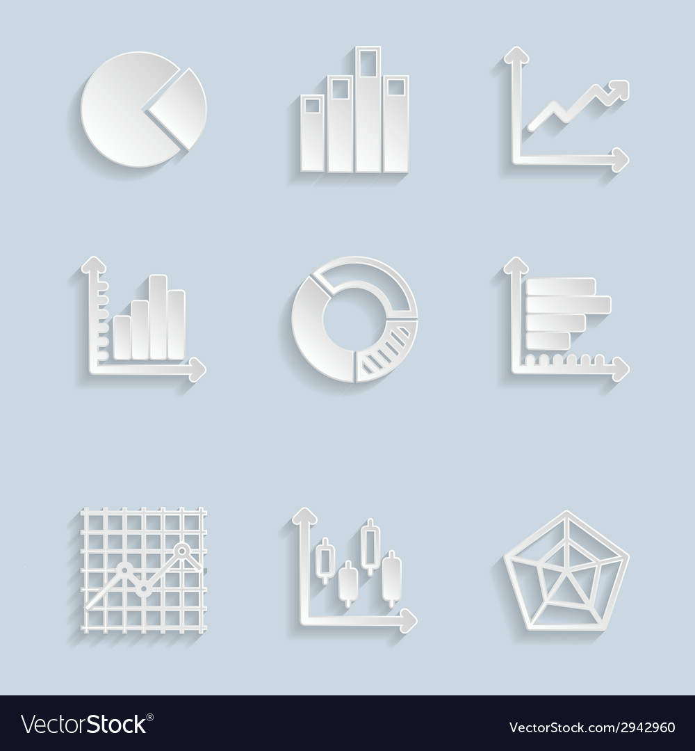 Paper diagram icons set vector | Price: 1 Credit (USD $1)