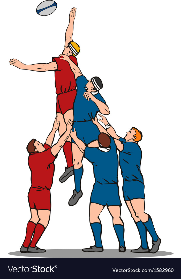 Rugby player catching lineout ball vector | Price: 1 Credit (USD $1)