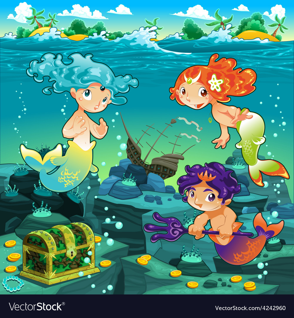Seascape with mermaids and triton vector | Price: 3 Credit (USD $3)