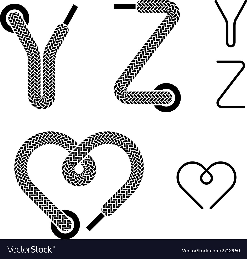 Shoe lace alphabet letters y z heart vector | Price: 1 Credit (USD $1)