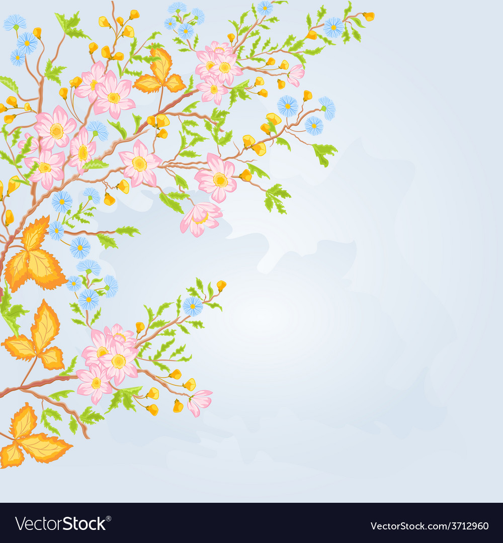 Twig shrub whit spring flowers background spring vector | Price: 1 Credit (USD $1)