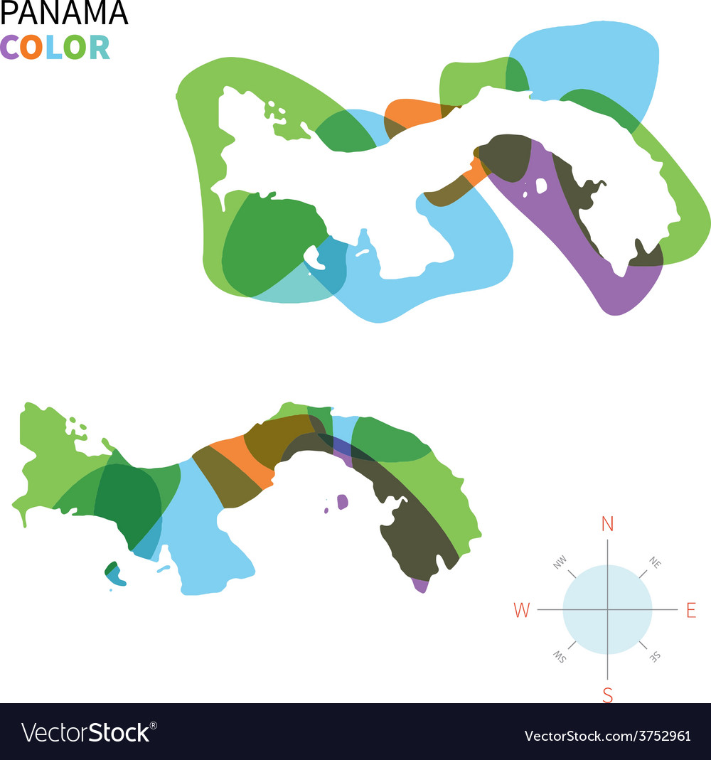 Abstract color map of panama vector | Price: 1 Credit (USD $1)