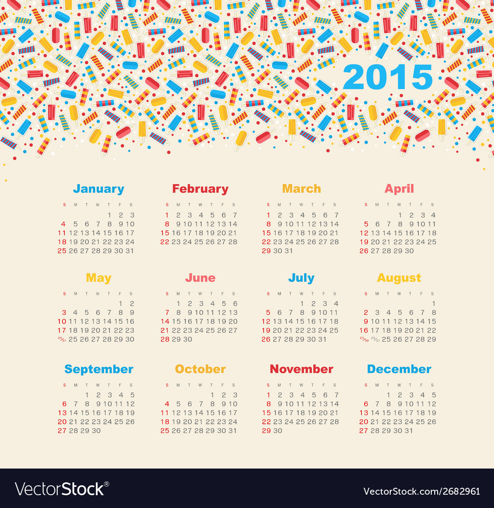 Calendar 2015 year with ice cream vector | Price: 1 Credit (USD $1)