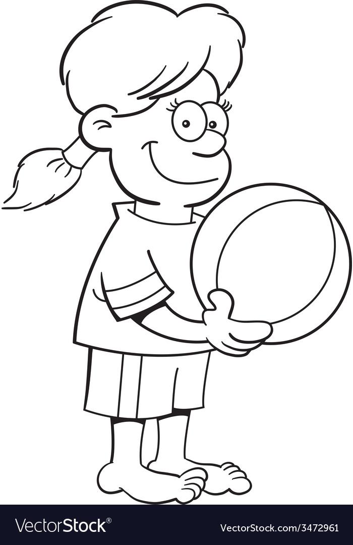 Cartoon girl holding a beach ball vector | Price: 1 Credit (USD $1)