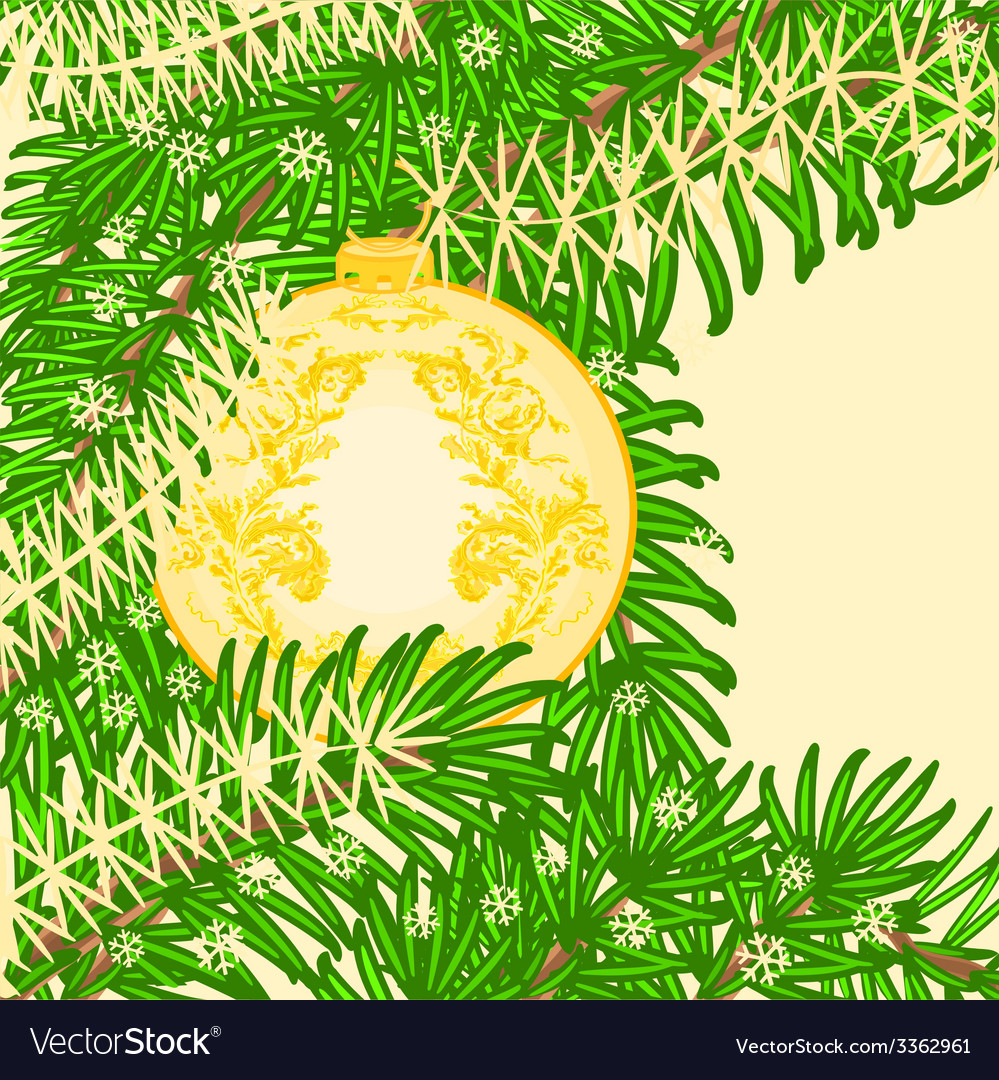 Christmas decoration yellow baubles vintage vector | Price: 1 Credit (USD $1)