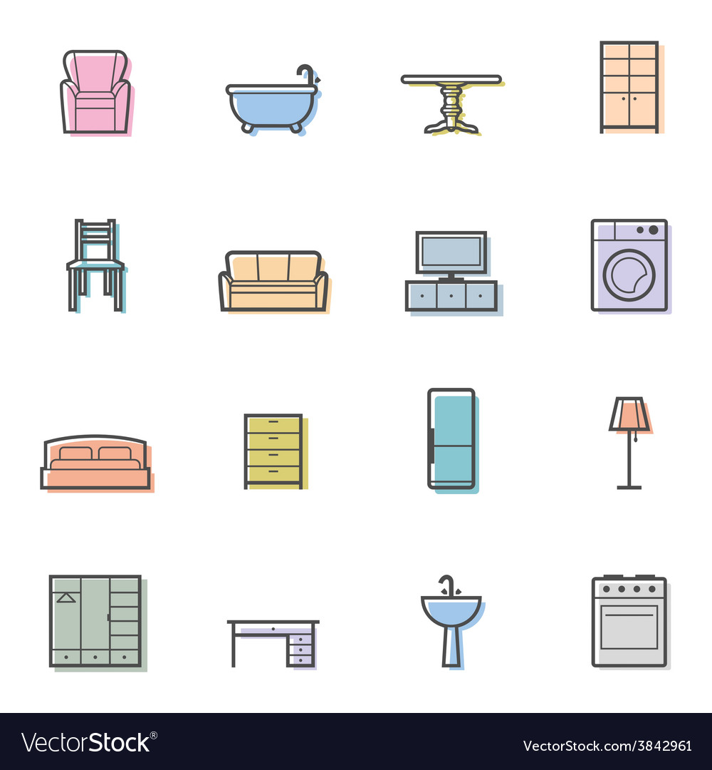 Colorfull home furniture isolated icons set vector | Price: 1 Credit (USD $1)