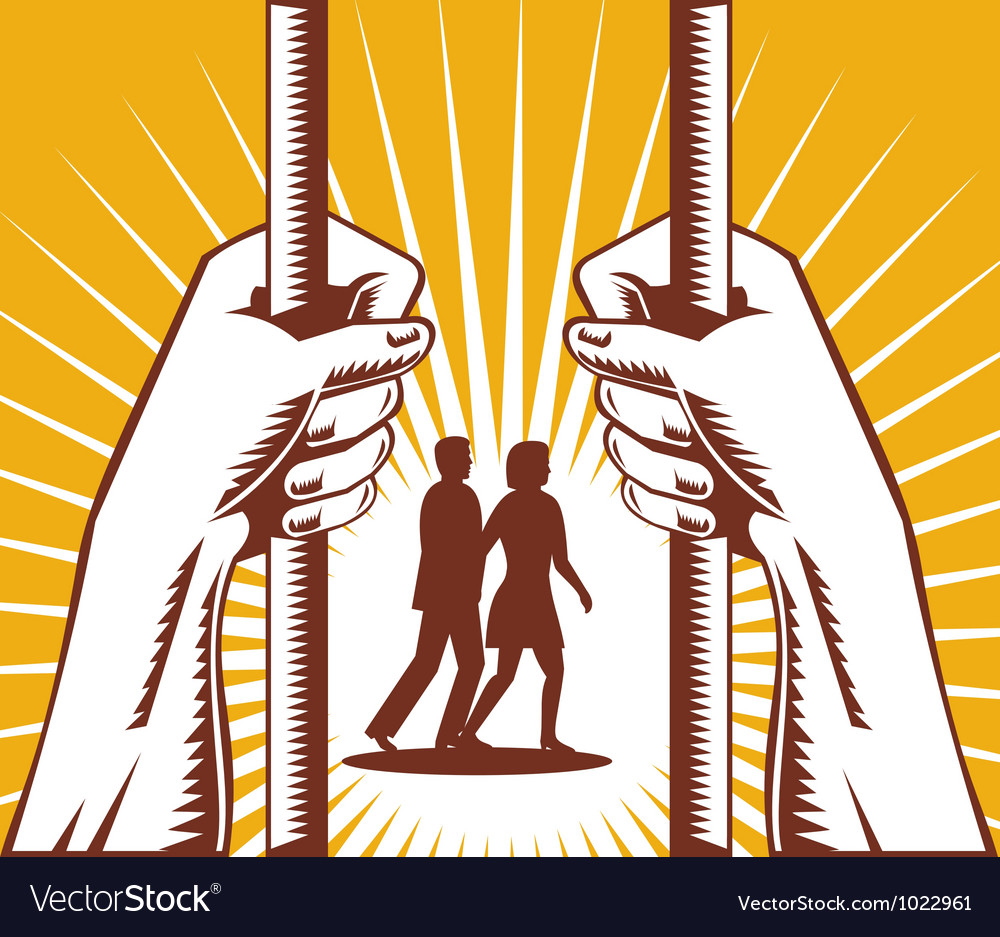 Hand looking couple prison prisoner retro vector | Price: 1 Credit (USD $1)