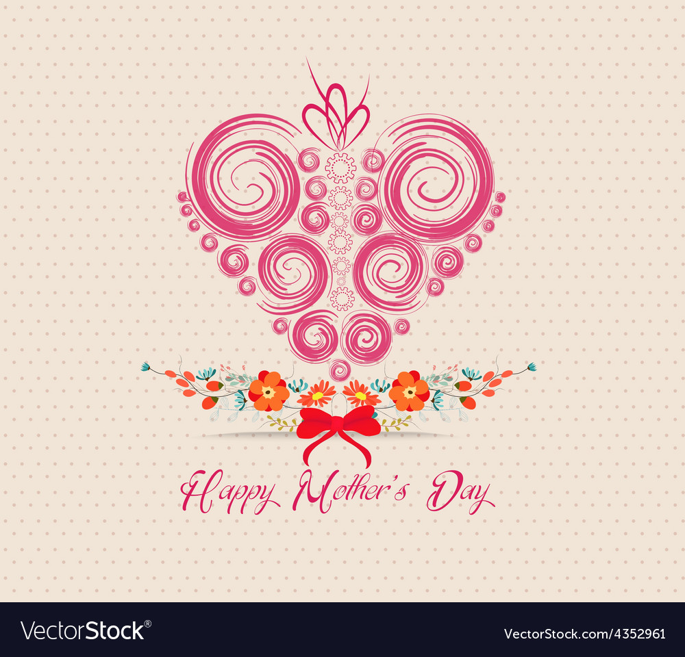 Heart ornament background mothers day greeting vector | Price: 1 Credit (USD $1)