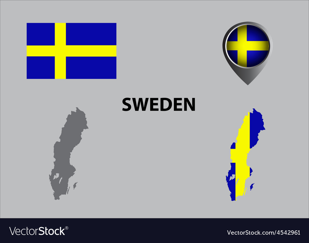 Map of sweden and symbol vector | Price: 1 Credit (USD $1)