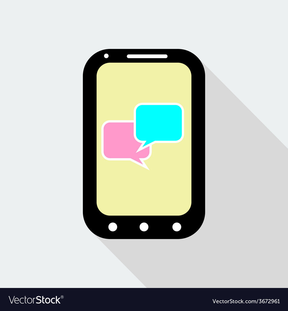 Mobile phone with speak bubbles icon flat style vector | Price: 1 Credit (USD $1)