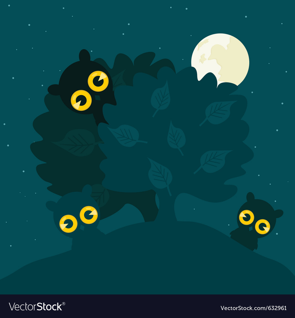 Owls hide behind a tree at night a vector | Price: 1 Credit (USD $1)