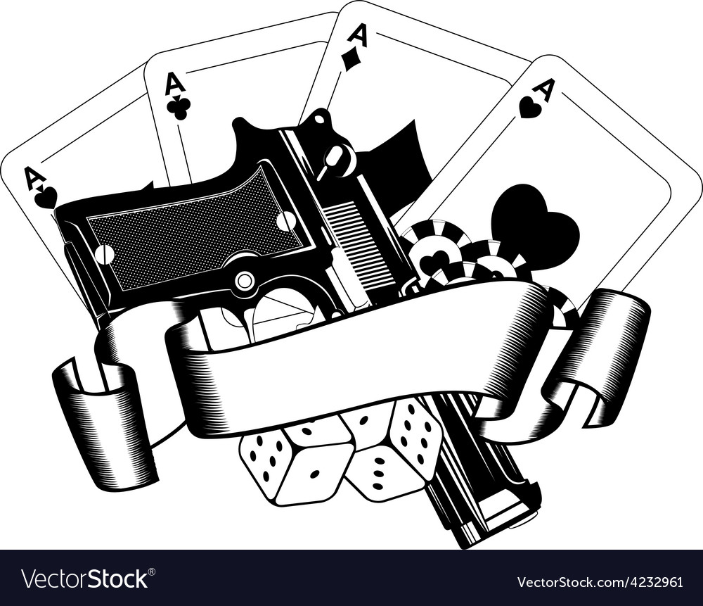 Pistols and playing cards vector | Price: 1 Credit (USD $1)