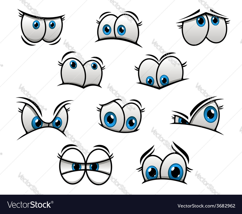 Big blue eyes in cartoon or comic style vector   Price: 1 Credit (USD $1)