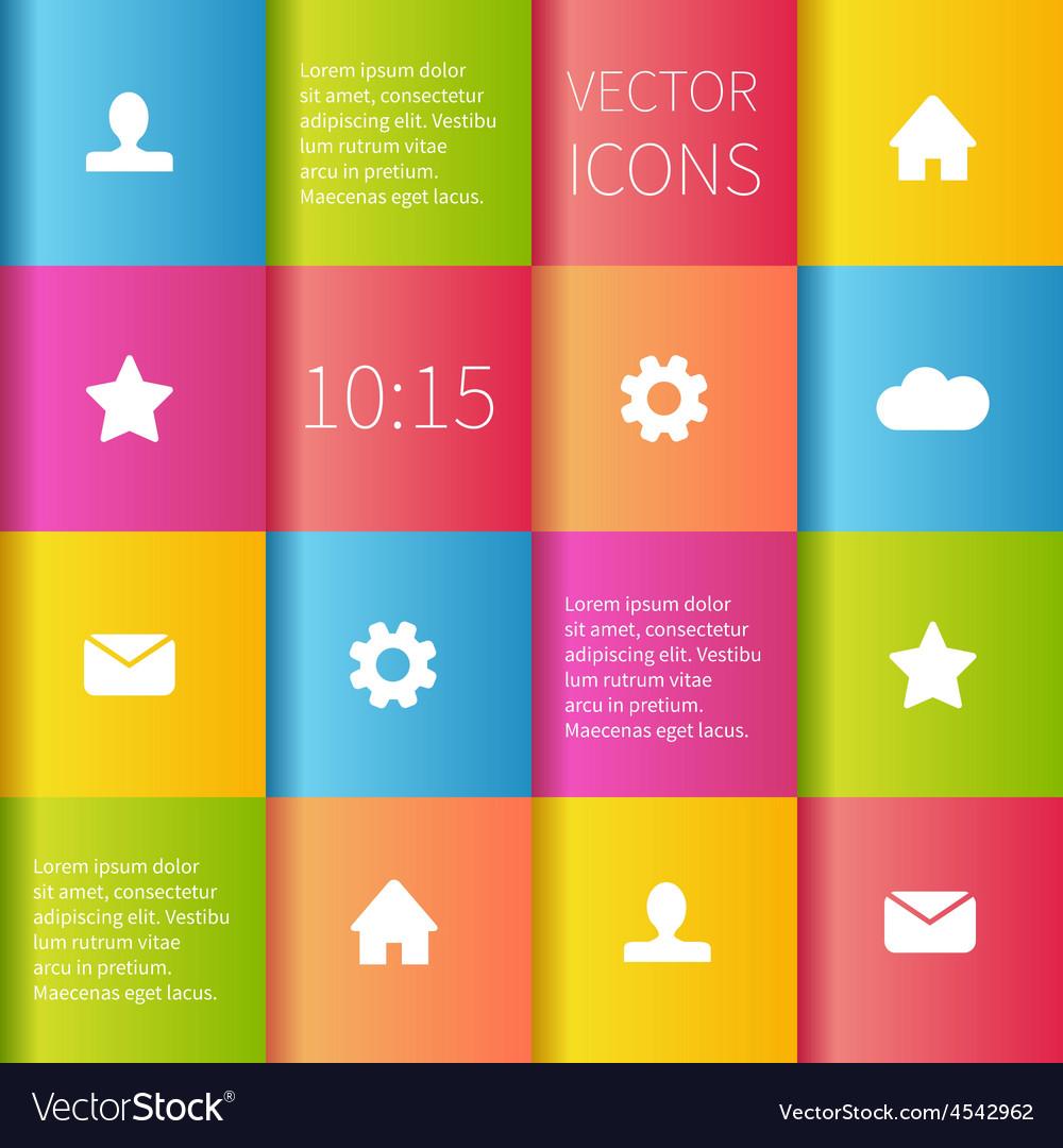Colourful boxes ui design vector | Price: 1 Credit (USD $1)