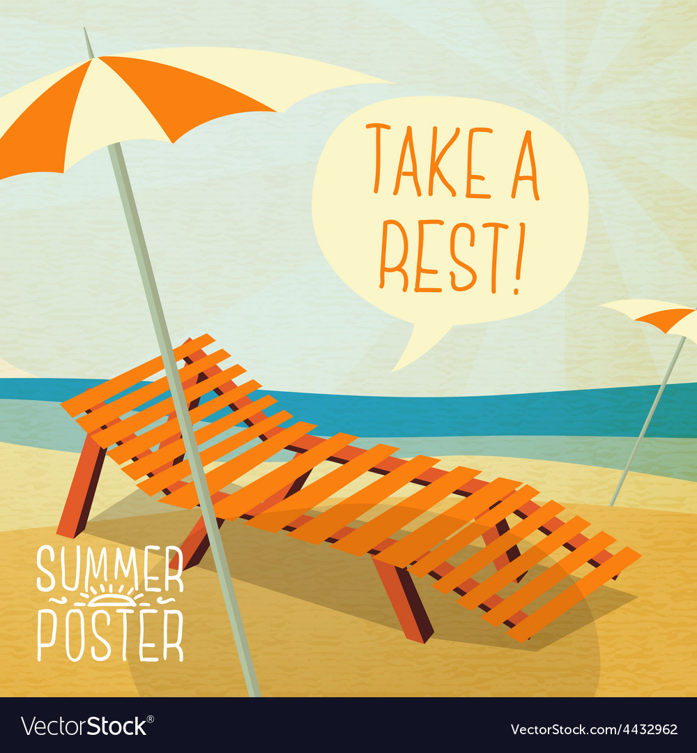 Cute summer poster - sun bathe on the chaise vector | Price: 3 Credit (USD $3)