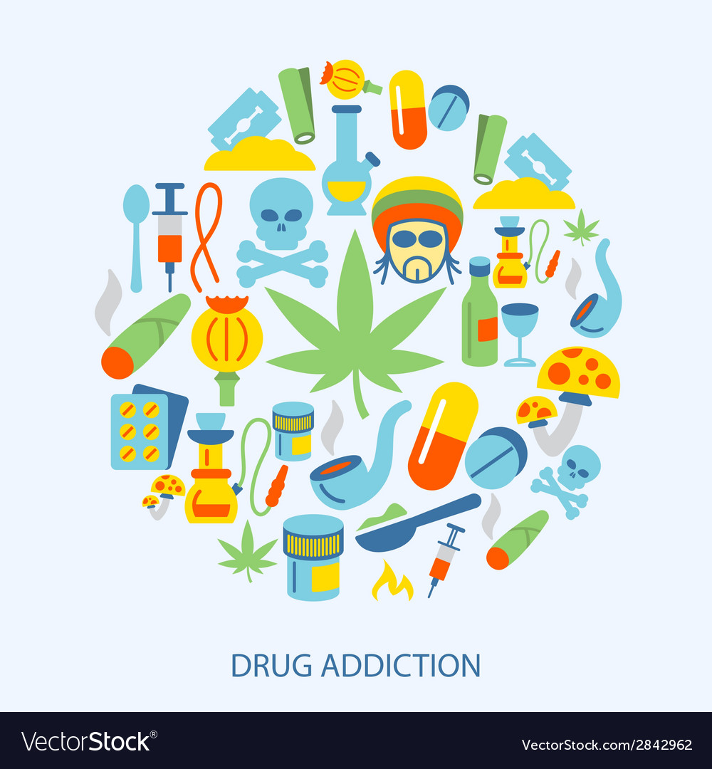 Drugs icons flat vector | Price: 1 Credit (USD $1)