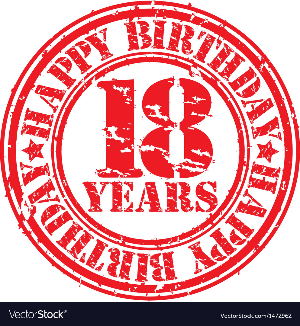 Grunge 18 years happy birthday rubber stamp vector | Price: 1 Credit (USD $1)