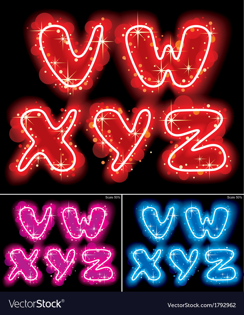 Neon alphabet letters vector | Price: 1 Credit (USD $1)