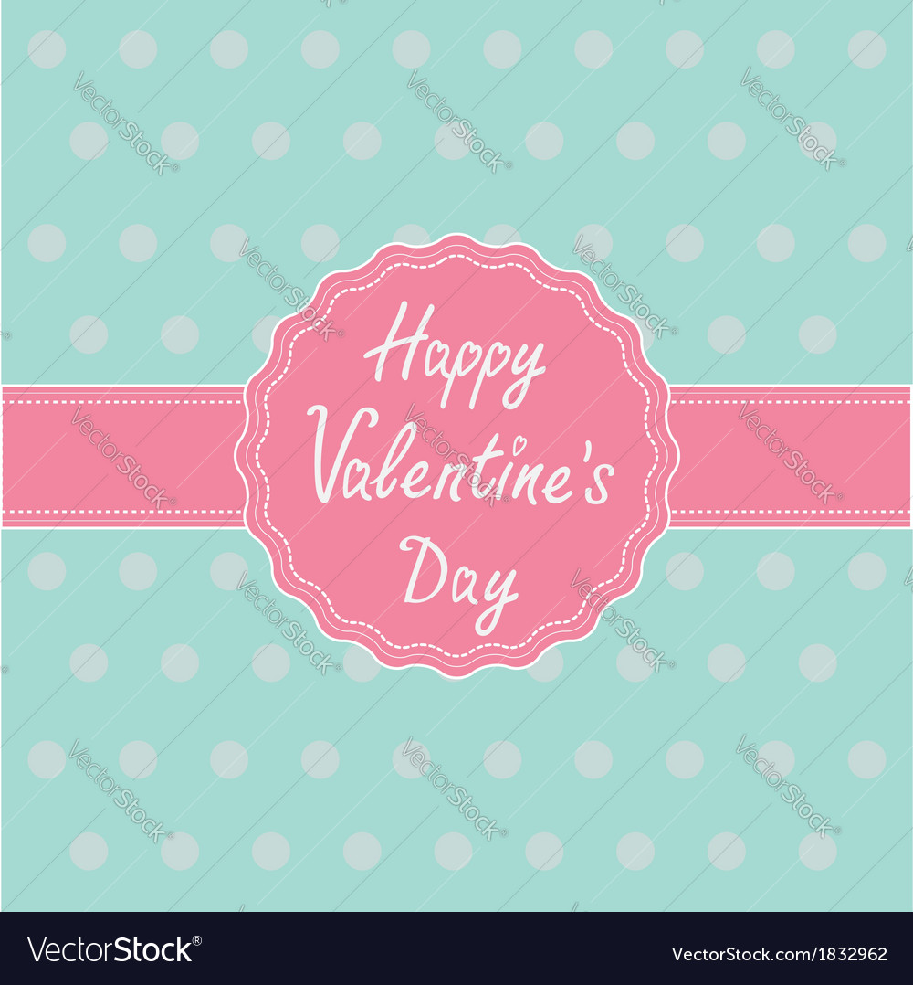 Pink label and ribbon happy valentines day vector | Price: 1 Credit (USD $1)