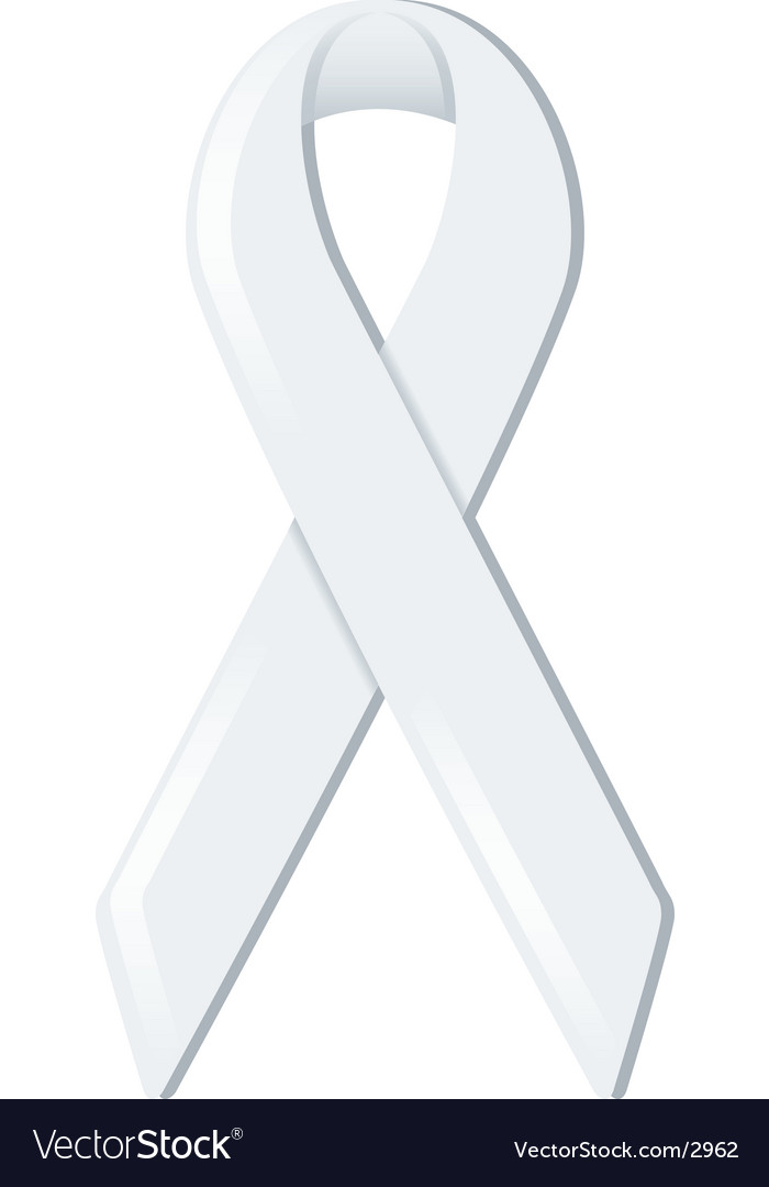 White awareness ribbon vector | Price: 1 Credit (USD $1)