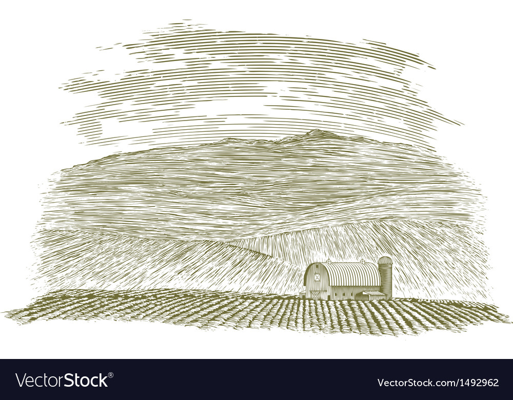 Woodcut farm barn and field vector | Price: 1 Credit (USD $1)