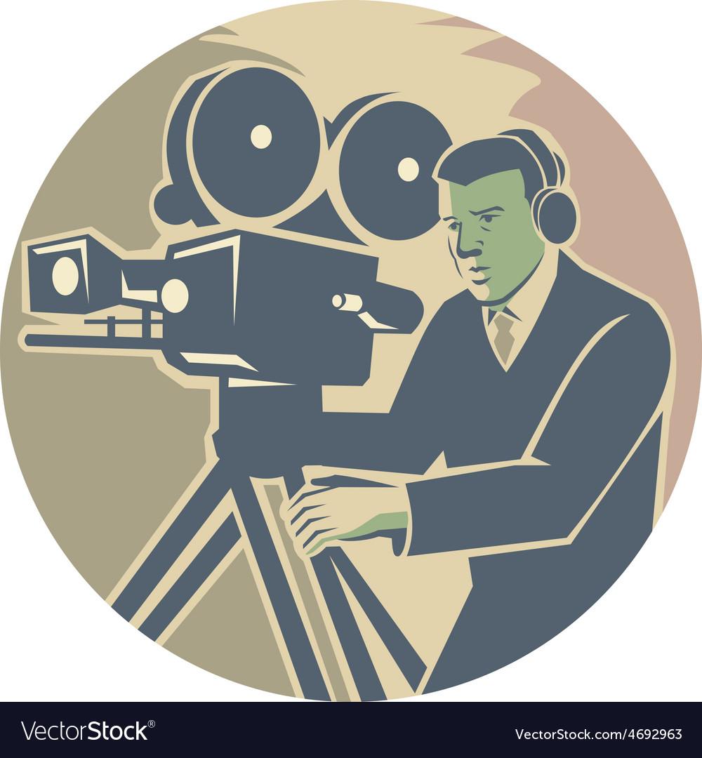 Cameraman moviemaker vintage camera retro vector   Price: 1 Credit (USD $1)