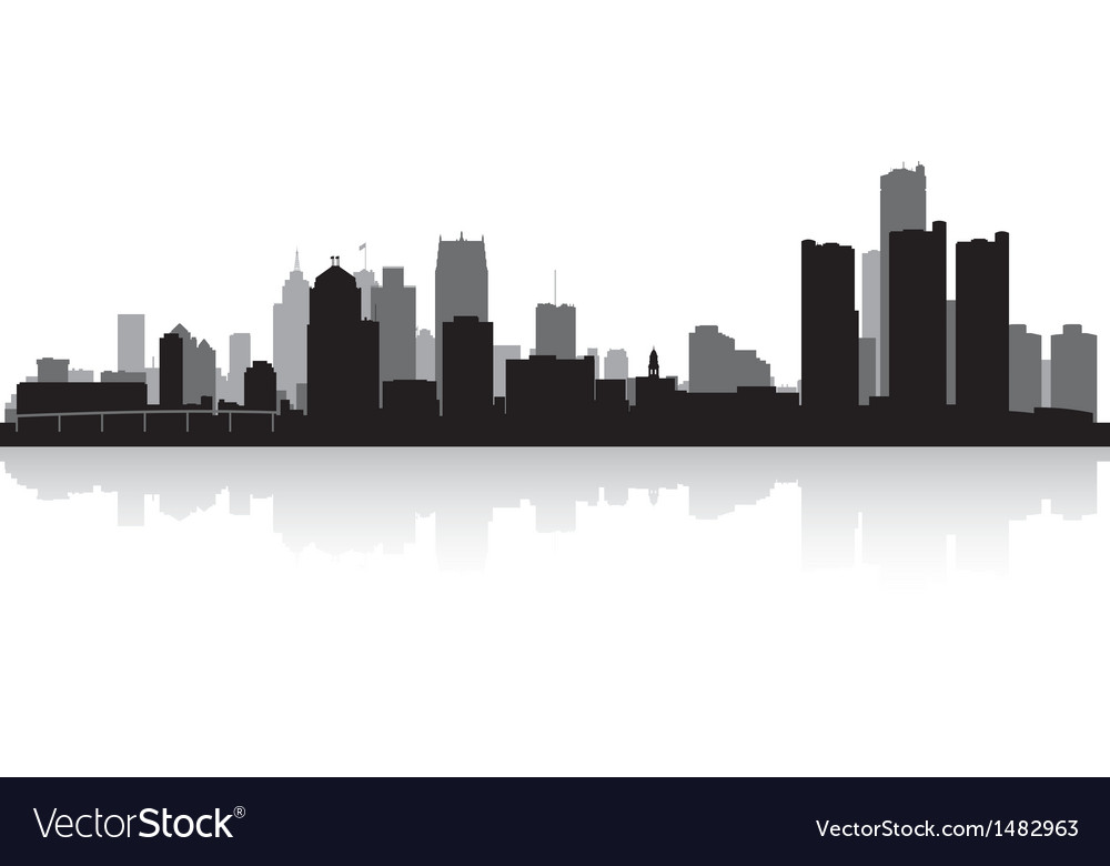 Detroit usa city skyline silhouette vector | Price: 1 Credit (USD $1)