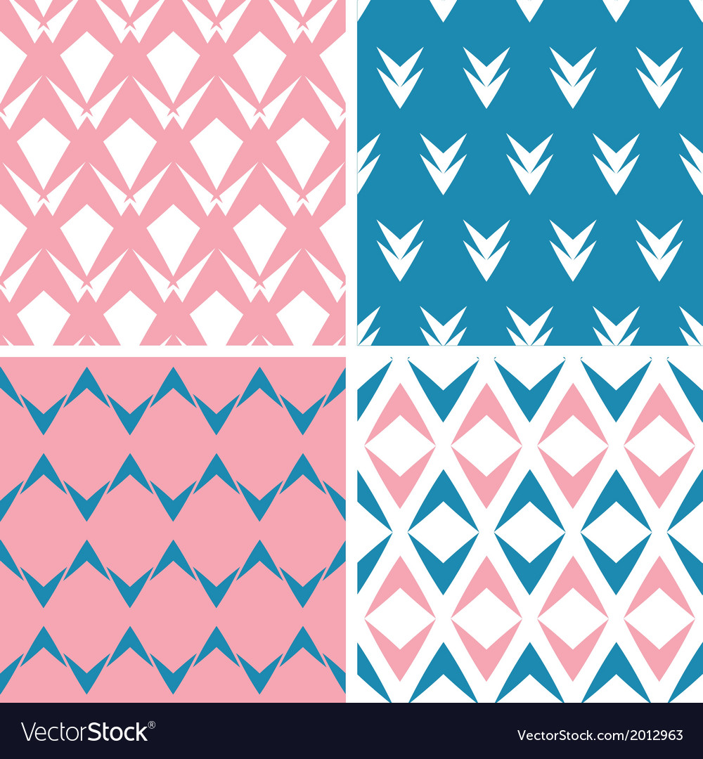 Four abstract pink blue arrows geometric pink vector | Price: 1 Credit (USD $1)