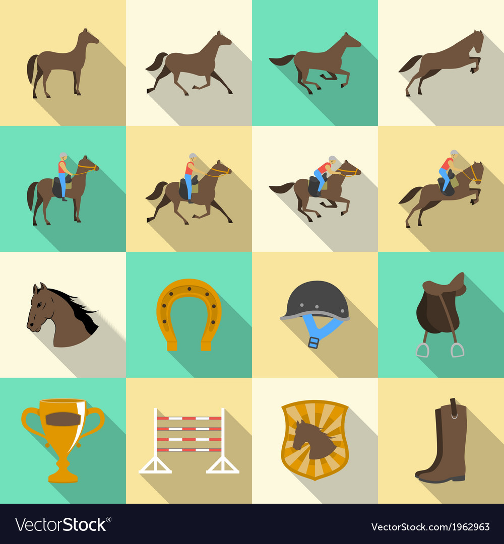 Horseback riding flat shadows icons set vector | Price: 1 Credit (USD $1)
