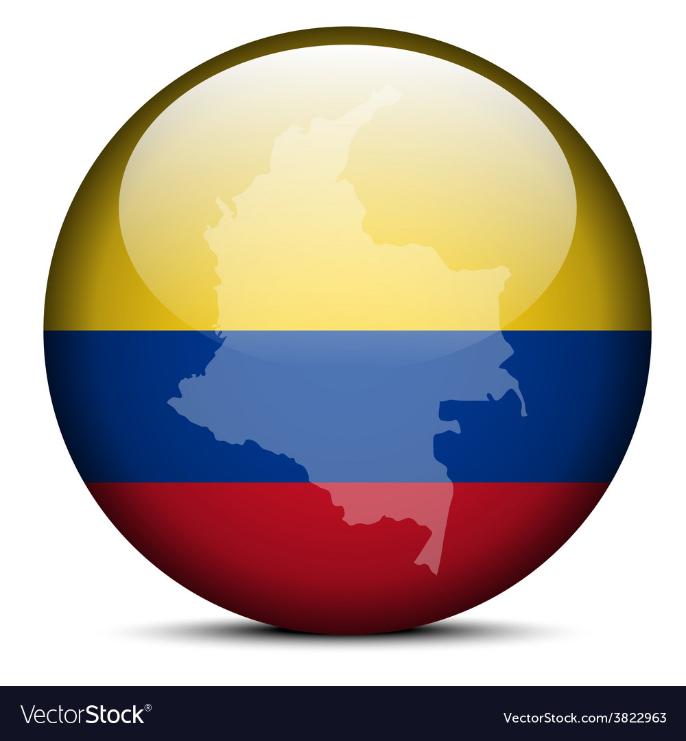 Map on flag button of republic of colombia vector | Price: 1 Credit (USD $1)