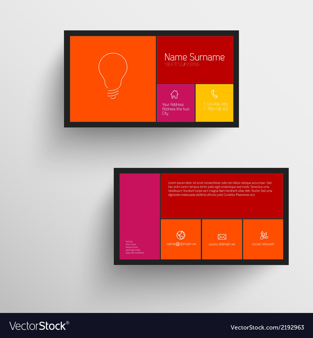 Modern business card template with flat mobile vector   Price: 1 Credit (USD $1)