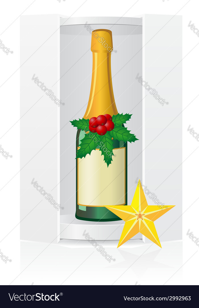 New year packing box with champagne vector | Price: 1 Credit (USD $1)