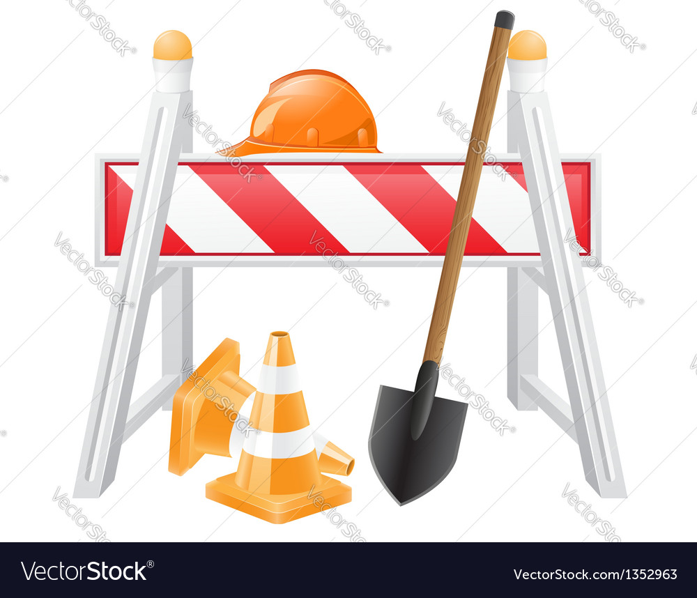 Objects for road works vector | Price: 3 Credit (USD $3)