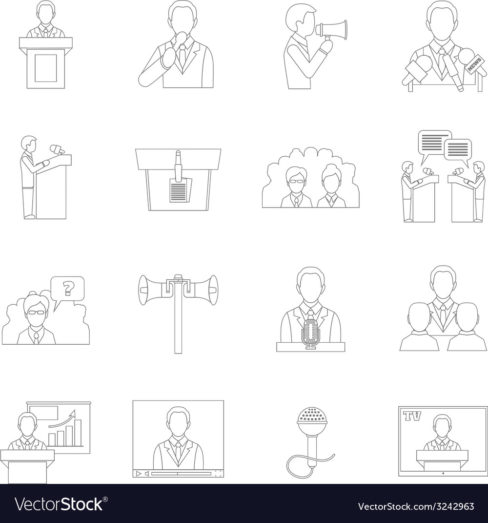 Public speaking icons outline vector | Price: 1 Credit (USD $1)