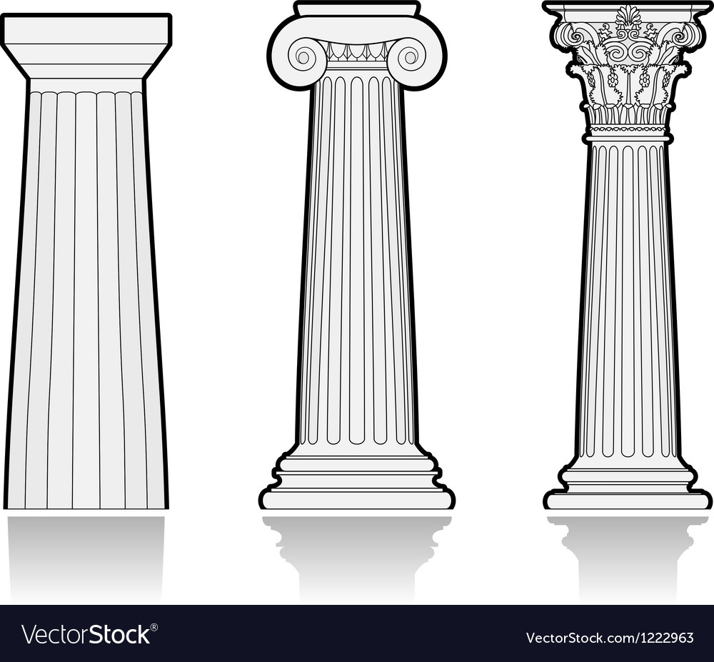 Stylized greek columns vector | Price: 1 Credit (USD $1)