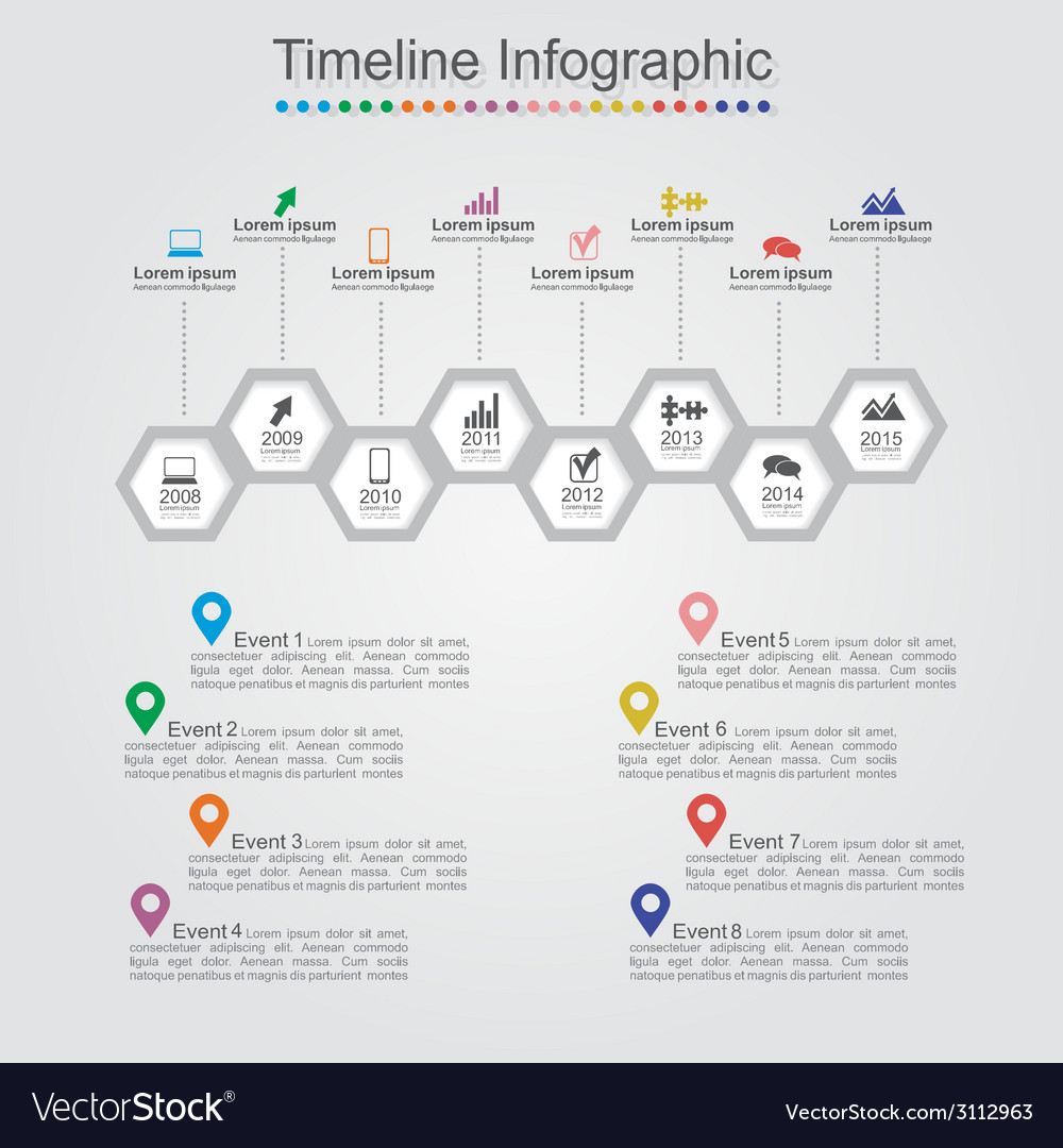 Timeline infographics with cell elements icons vector | Price: 1 Credit (USD $1)