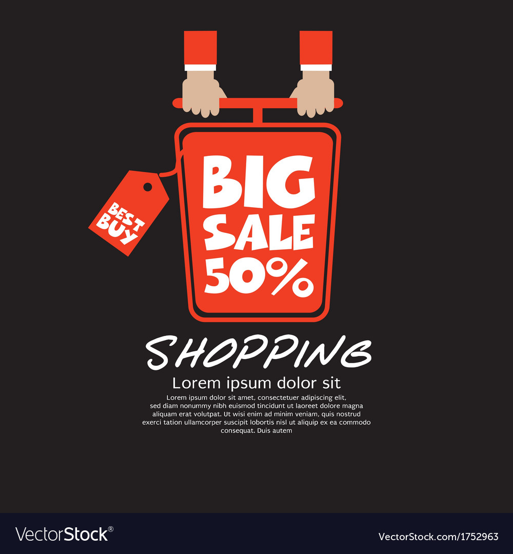 Top view shopping cart big sale concept vector | Price: 1 Credit (USD $1)