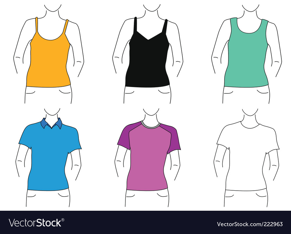 T-shirt outlines vector | Price: 1 Credit (USD $1)